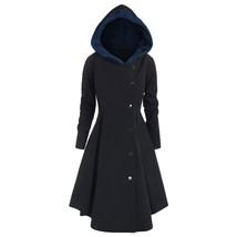 Plus Size Asymmetric Contrast Hooded(MIDNIGHT BLUE 4X) - $39.50