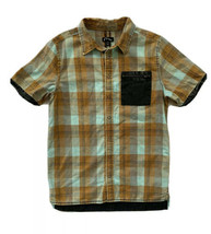 Art Class Target Boys 12 14 Distressed Plaid Short Sleeve Snap Down Shirt - $11.87