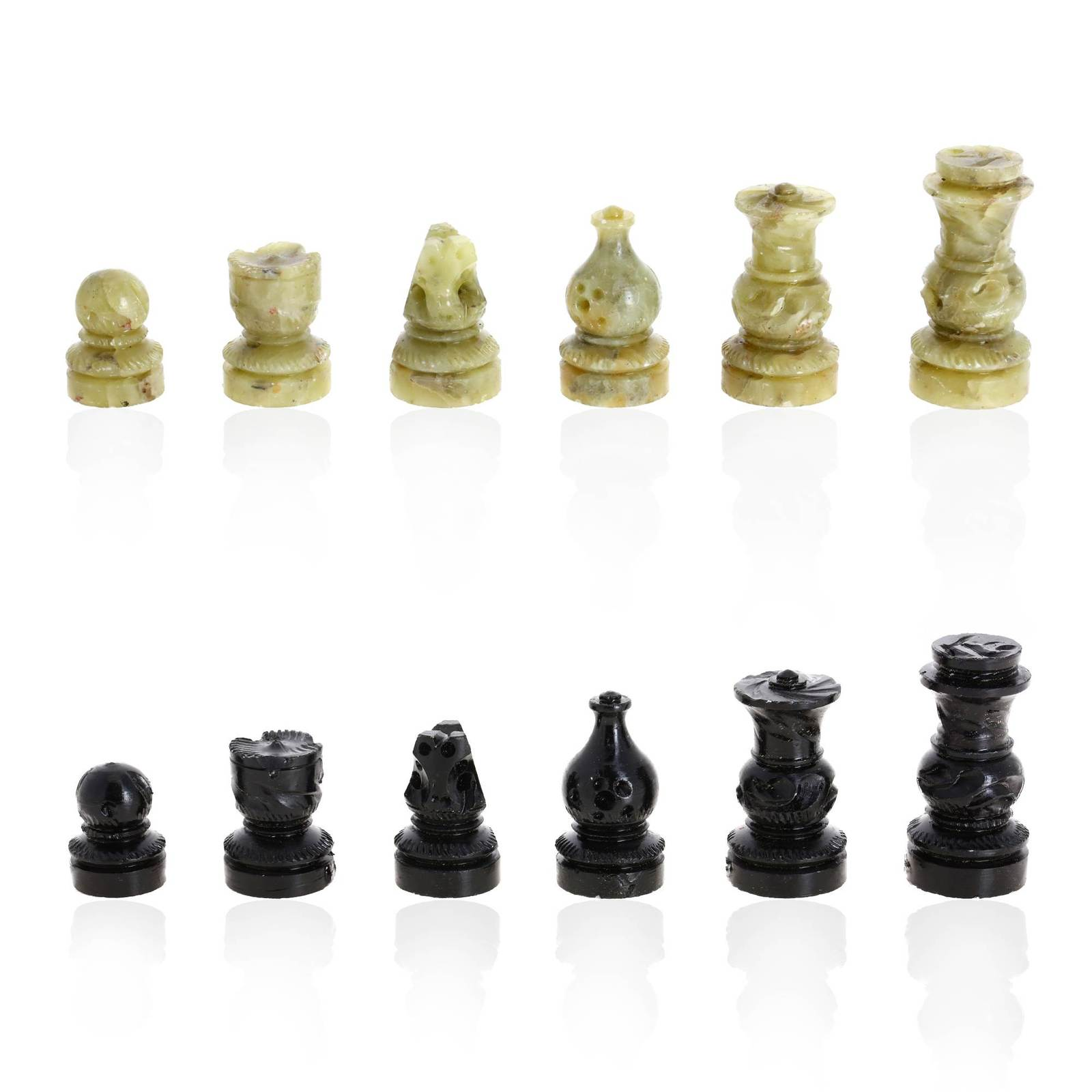 Shalinindia stone chess set 8 inch contemporary chess - Granite chess pieces ...