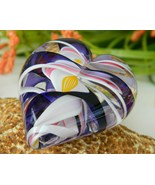 Glass Handcrafted Heart Paperweight Multicolor ... - $54.95