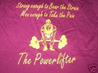 The Powerlifter T-Shirt with logo Size XL