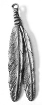 """LARGE HANGING FEATHER  FINE PEWTER PENDANT Approx. 3 7/8"""" w/ Crystal   (T149) image 2"""