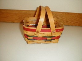 Longaberger Tea Basket Blue & Red Accent Weave With Plastic Protector New - $39.55