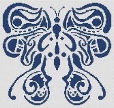 Tribal Butterfly monochrome cross stitch chart White Willow stitching - $7.65