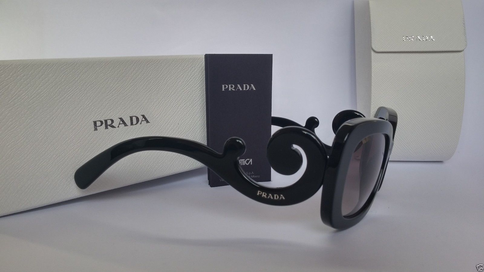 dd53c2d5129a79 ... Prada Sunglasses 27OS 1AB3M1 Minimal Baroque Black Grey Gradient 100%  Original ...