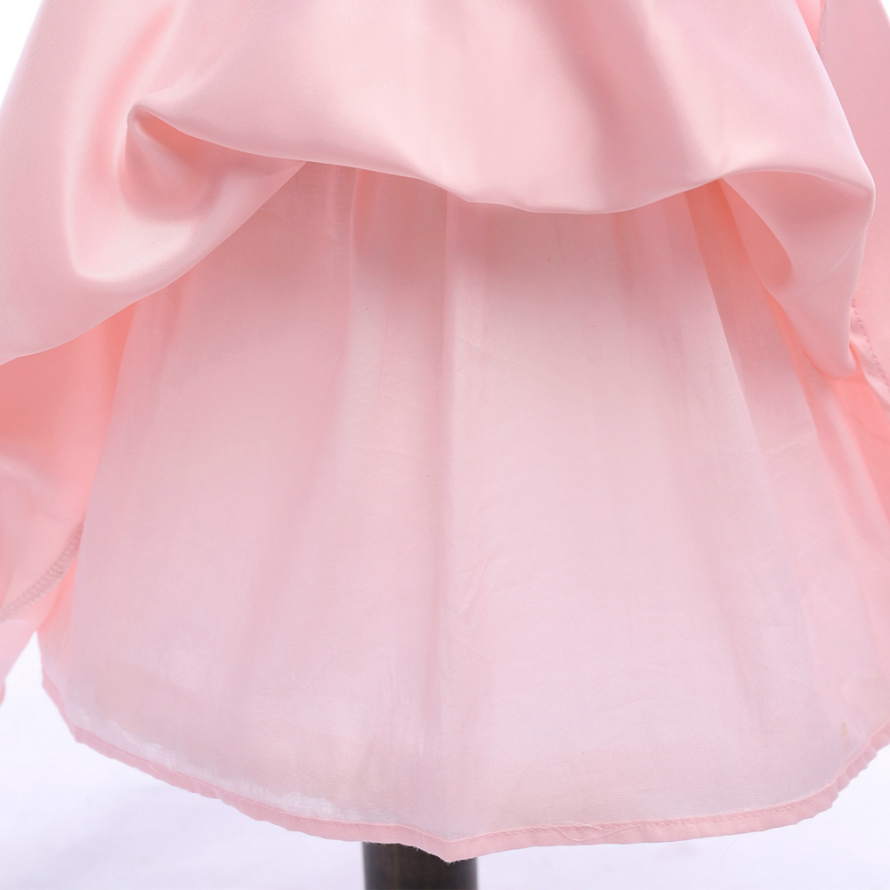 Sample One Shoulder Pink Satin Girls Party Gowns Sexy Mini Flower Girls Dresses image 7