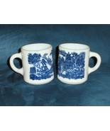 Vintage Blue Willow Milk Glass Coffee Tea Cups ... - $28.00