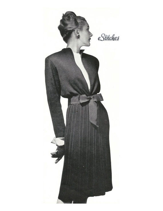 1940s Suit Open Front Sweater Jacket & Wide Rib Skirt - Knit pattern (PDF 0683) - $3.75