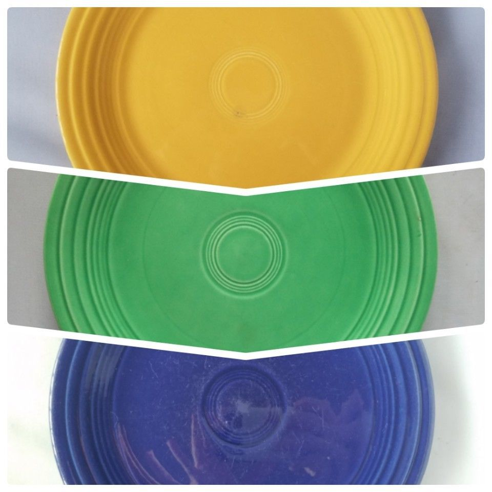 "Fiestaware Genuine Vintage Fiesta Colored Med 9.5"" Dinner Plates Set of 3 Home"