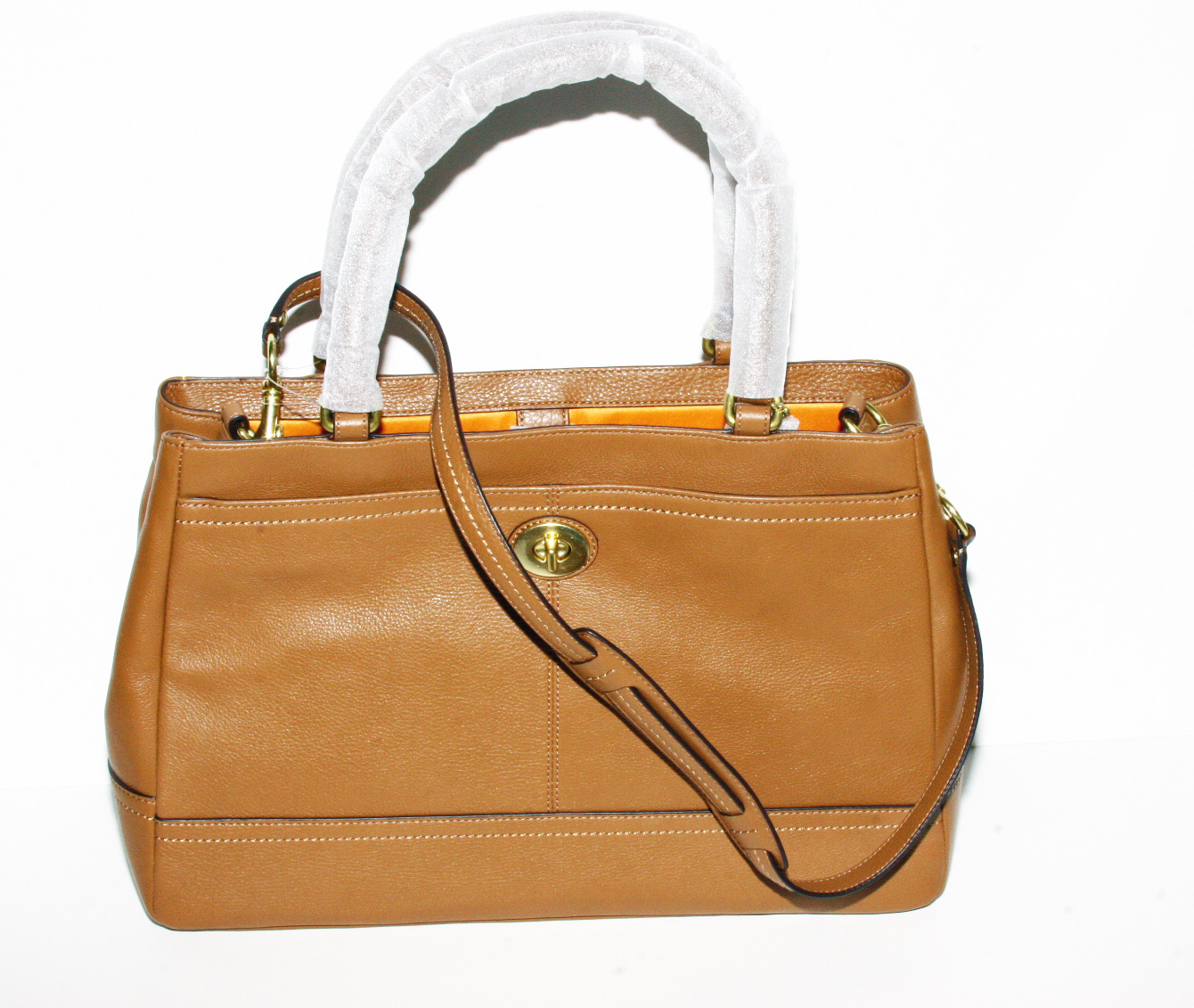 Coach Handbag Leather Tan Ebay