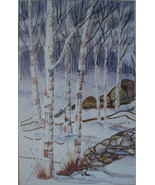 Snow Landscape Painting Georgia Graves Bordwell CA Artist Listed Vintage... - $289.00