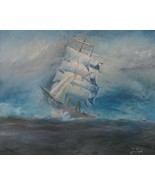 ME Painting Booth Bay Ship Seascape Folk Art 1910 Signed Ron Norton 01645 - $129.00