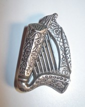 Vintage Sterling Silver Harp Brooch Pin Signed Detail 00476 - $59.00