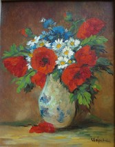 NY Artist Richard Welsch Floral Painting Vintage Signed Listed 01100 - $399.00