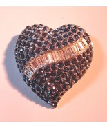 Vintage Heart Brooch Pin 2 Color Rhinestones Baguettes Silver Tone 01451 - $49.00