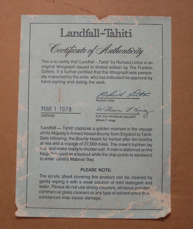 Art Prints Richard Linton Landfall Tahiti 1979 Pencil Signed Listed 01494