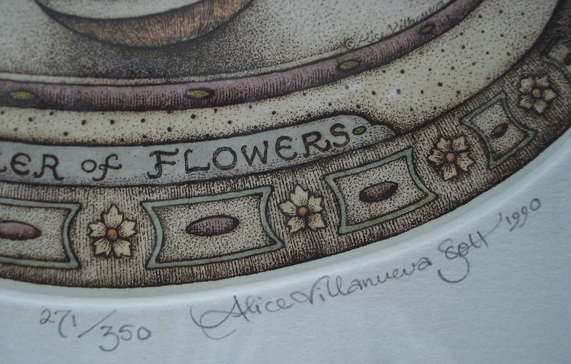 Alice Scott Morris Etch Juggler Of Flowers 1990 Plate Pencil Sign Ltd Ed 01083
