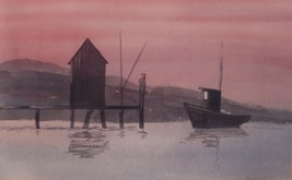 Quahog Boat Sunset Art Watercolor Painting RI Artist Sam Rouslin 1987 Sg... - $199.00