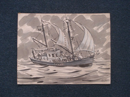 John Day RI Artist Art Painting Fishing Boat Aquarius Signed Listed 01444 - $215.00
