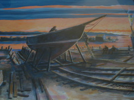Sailboat Dusk Painting Watercolor Dry Dock Sign... - $169.00