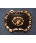 Vintage Toleware Tray Hand Painted Rolled Rim Kitchen Decor Large 01900 - $150.00