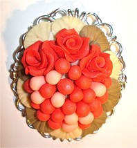 Vintage Floral Roses Brooch Pin Colorful Dimensional Red White 00274 - $42.00