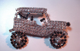 Car Jewelry Vintage Rhinestone Brooch Silver Tone Prong Set 01708 - $48.00