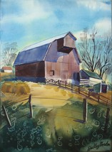 Dudley Gordon Art Painting 6 Watercolors 2 Signed Farm Boat Train Statio... - $179.00
