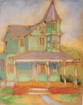 Pastel Art Painting Dana Bolton Victorian House Signed Vintage 00628 - $174.00