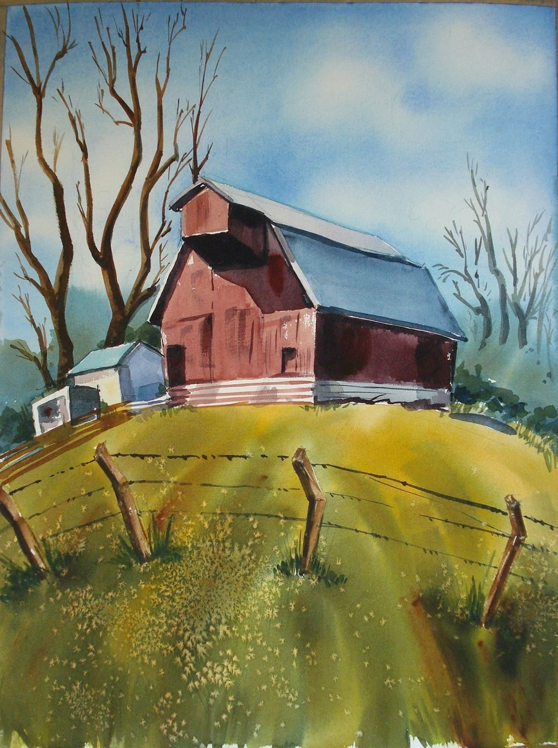 Dudley Gordon Art Painting 6 Watercolors 2 Signed Farm Boat Train Station 00696
