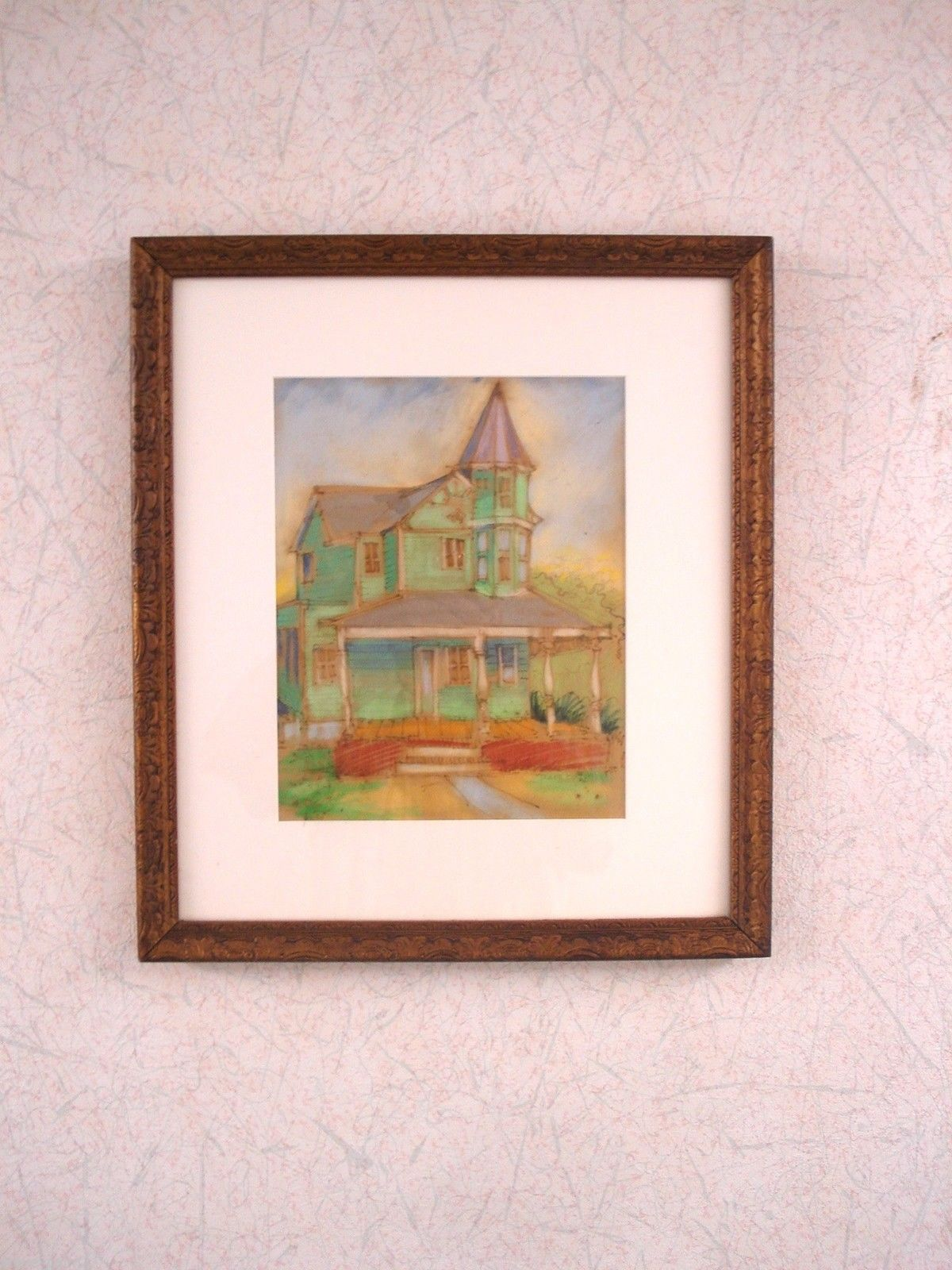 Pastel Art Painting Dana Bolton Victorian House Signed Vintage 00628