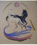 Horse Painting Carla Hill Art Home Decor Mixed Media on Board Signed 00973 - $99.00