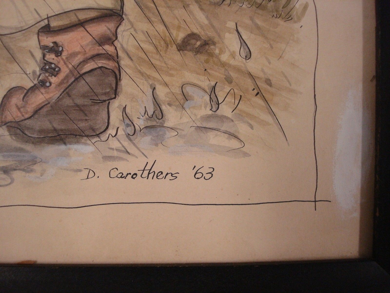Children Puppy Art Watercolor Painting D Carothers 1963 Signed 00376