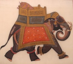 Art Paintings Elephant India Mughal Style Unsigned Painted on Linen 00162 - $299.00