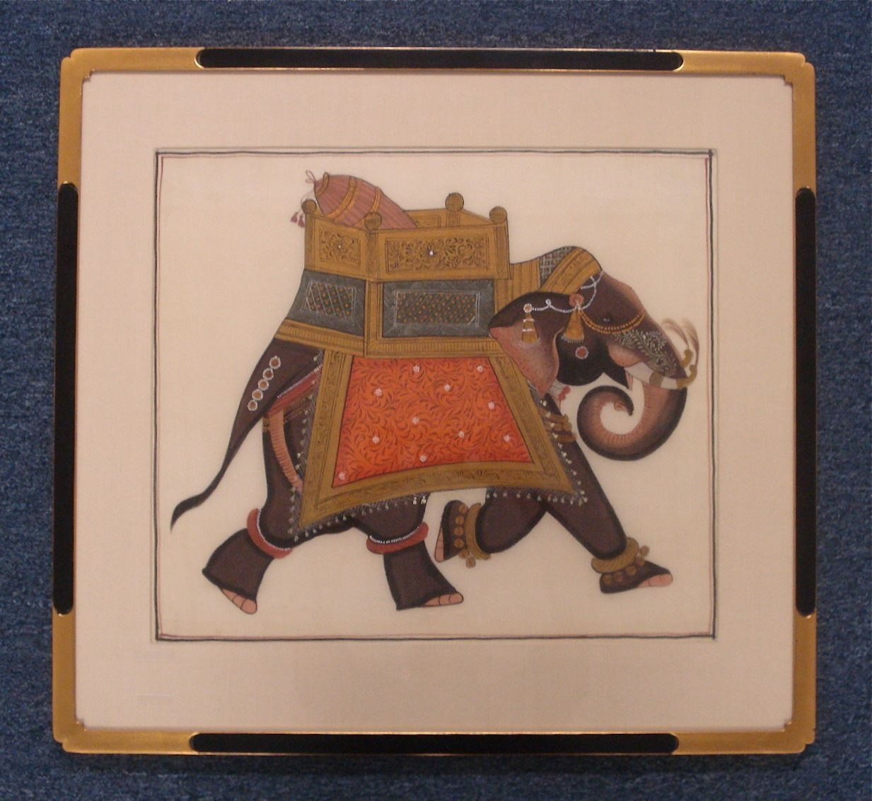 Art Paintings Elephant India Mughal Style Unsigned Painted on Linen 00162