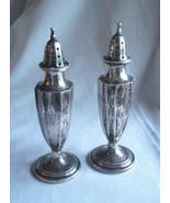 International Silver Antique Salt & Pepper Shakers Sterling Signed 01804 - $49.00