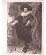 William Unger Etching Willem van Heythuysen by Frans Halls Antque Print ... - $49.00