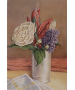 Floral Watercolor Painting Signed J A Taylor Art Home Decor 02001 - $199.00