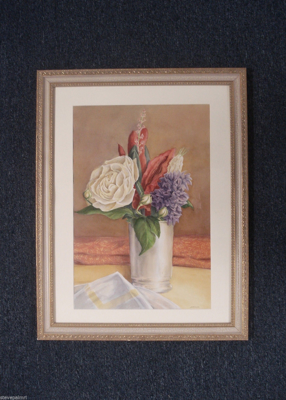 Floral Watercolor Painting Signed J A Taylor Art Home Decor 02001