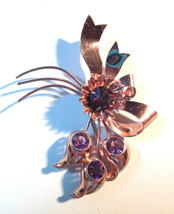 Costume Jewelry Brooch Ameythst Sterling Silver Glass Stone 01384 - $69.00