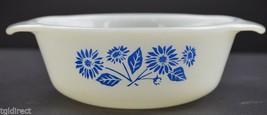 vintage Anchor Hocking Glass Blue Flower Pattern 12 oz Casserole Dish 47... - $9.99
