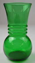 "Vitnage Anchor Hocking Glass Forest Green Pattern Flower Vase 6.375"" Tal... - $12.99"