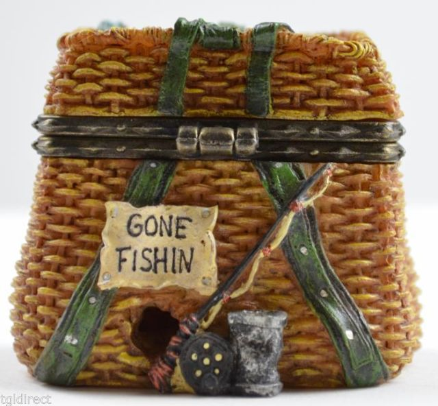 Boyds Bears Resin Treasure Box Opie's Creel Basket Minnow McNibble Mouse Figure