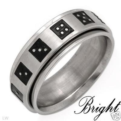 "ATTENTION - BUY THIS LUCKY RING - MEN'S ""DICE"" STAINLESS STEEL RING - SIZE 11"