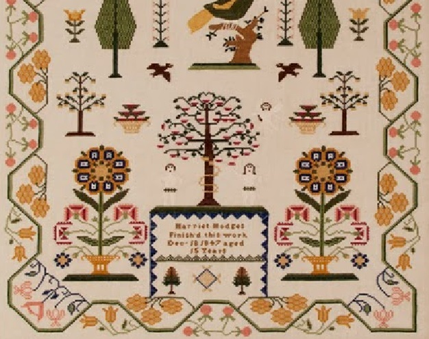 Harriet Hodges Reproduction Sampler cross stitch chart Threads of Memory