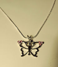 Pretty Silvertone Pink Crystals Butterfly Necklace #4  - $8.00