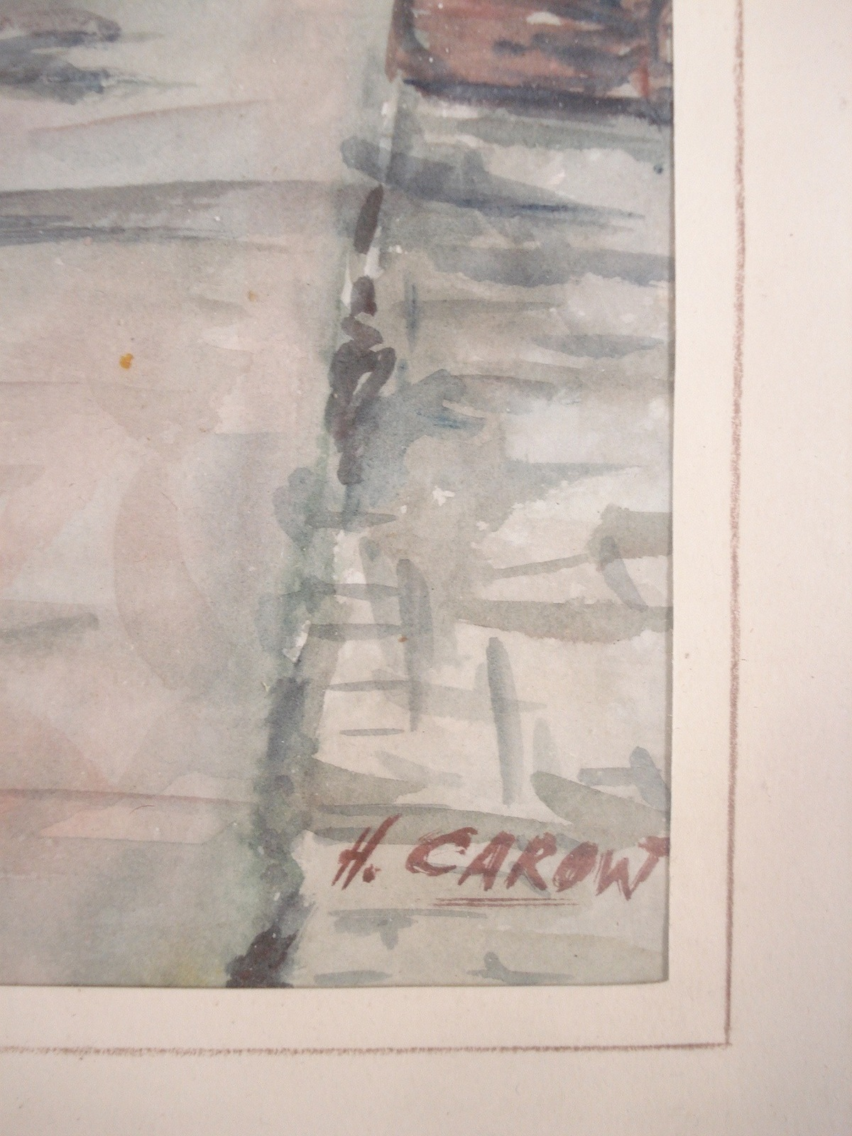 Art Painting Signed H Carow Watercolor Fishing Boat Decor New Bedford MA 01300