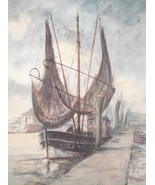 Art Painting Signed H Carow Watercolor Fishing Boat Decor New Bedford MA... - $199.00