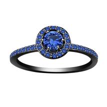 Womens Halo Blue Sapphire Engagement Ring 14k Black Gold Finish 925 Soli... - £60.44 GBP
