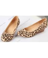 87H130 cute leopard skin print wedge,Size 4-8.5, yellow - $62.80